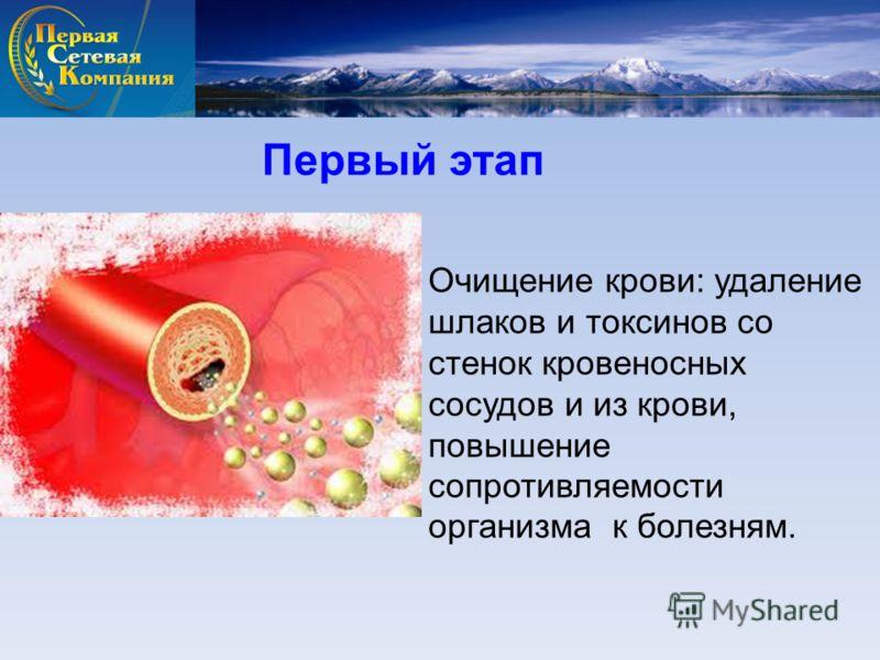 Очищение крови: удаление шлаков и токсинов со стенок кровеносных сосудов и из крови, повышение сопротивляемости организма к болезням. Первый этап