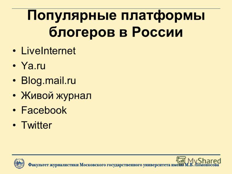 Популярные платформы блогеров в России LiveInternet Ya.ru Blog.mail.ru Живой журнал Facebook Twitter