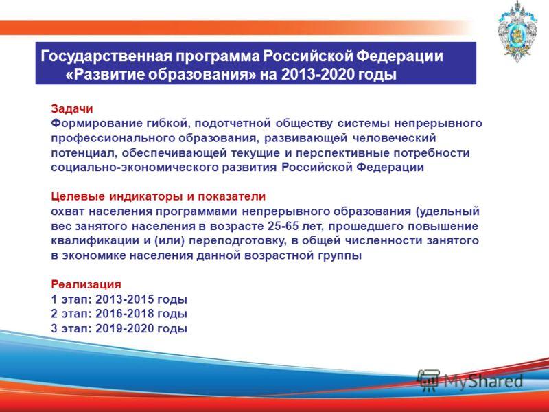 Государственная программа Российской Федерации «Развитие образования» на 2013-2020 годы Задачи Формирование гибкой, подотчетной обществу системы непрерывного профессионального образования, развивающей человеческий потенциал, обеспечивающей текущие и