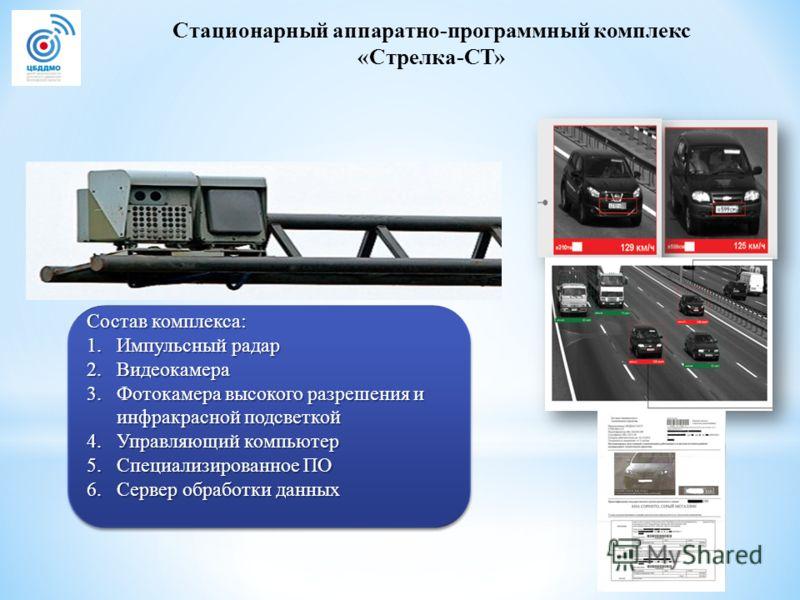 Стационарный аппаратно-программный комплекс «Стрелка-СТ» Состав комплекса: 1. Импульсный радар 2. Видеокамера 3. Фотокамера высокого разрешения и инфракрасной подсветкой 4. Управляющий компьютер 5. Специализированное ПО 6. Сервер обработки данных Сос