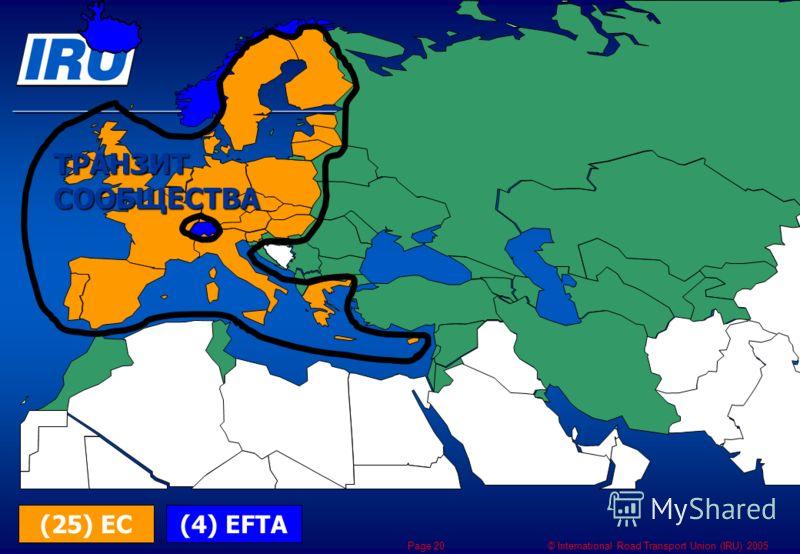 © International Road Transport Union (IRU) 2005 Page 20 (4) EFTA(25) ЕС ТРАНЗИТ СООБЩЕСТВА