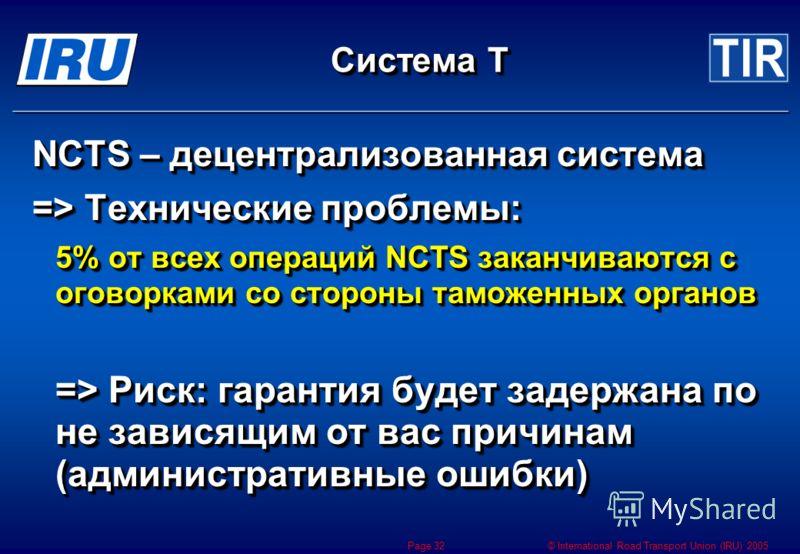 © International Road Transport Union (IRU) 2005 Page 32 Система Т NCTS – децентрализованная система => Технические проблемы: 5% от всех операций NCTS заканчиваются с оговорками со стороны таможенных органов => Риск: гарантия будет задержана по не зав