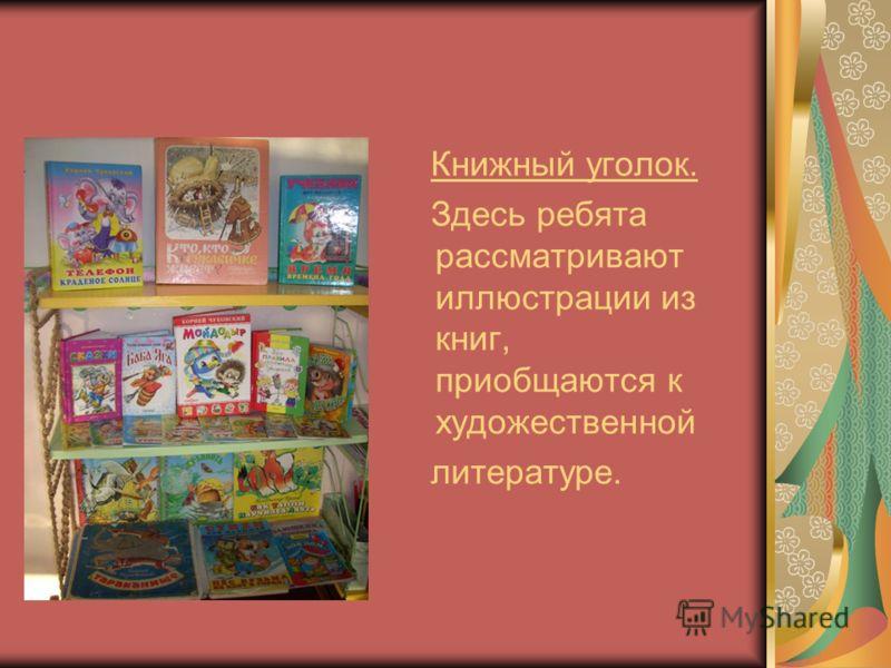 Книжный уголок. Здесь ребята рассматривают иллюстрации из книг, приобщаются к художественной литературе.