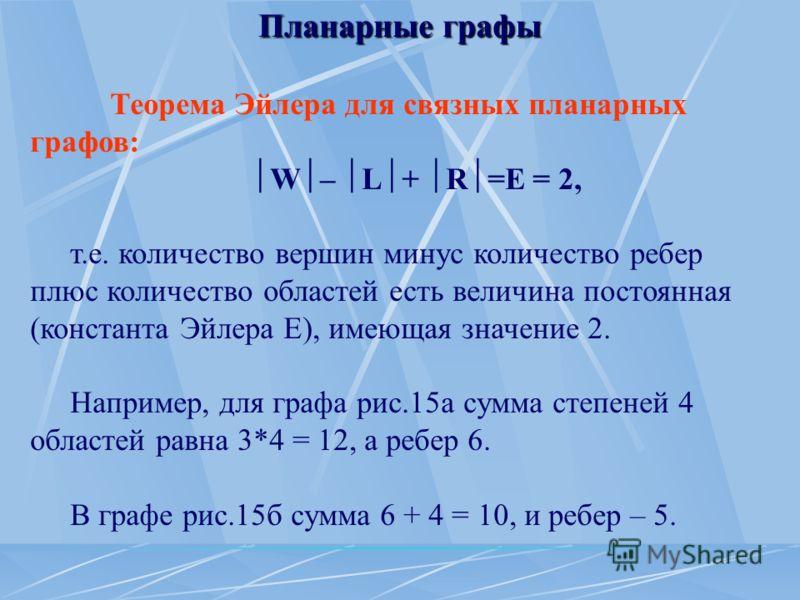 Планарные графы Теорема Эйлера для связных планарных графов: W – L + R =E = 2, т.е. количество вершин минус количество ребер плюс количество областей есть величина постоянная (константа Эйлера Е), имеющая значение 2. Например, для графа рис.15а сумма