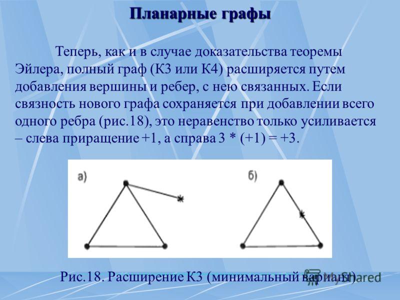 Планарные графы Теперь, как и в случае доказательства теоремы Эйлера, полный граф (К3 или К4) расширяется путем добавления вершины и ребер, с нею связанных. Если связность нового графа сохраняется при добавлении всего одного ребра (рис.18), это нера