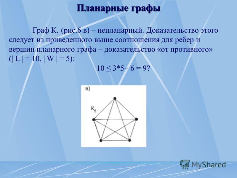 Планарные графы Граф К 3 (рис.6 в) – непланарный. Доказательство этого следует из приведенного выше соотношения для ребер и вершин планарного графа – доказательство «от противного» (| L | = 10, | W | = 5): 10 3*5– 6 = 9?