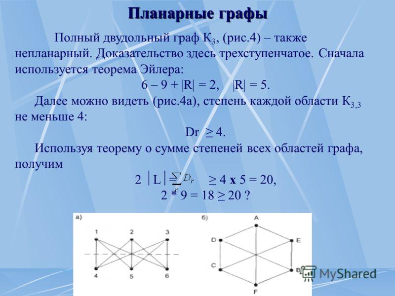 Планарные графы Полный двудольный граф К 3, (рис.4) – также непланарный. Доказательство здесь трехступенчатое. Сначала используется теорема Эйлера: 6 – 9 + |R| = 2, |R| = 5. Далее можно видеть (рис.4а), степень каждой области К 3,3 не меньше 4: Dr 4.