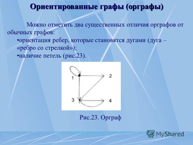 Ориентированные графы (орграфы) Можно отметить два существенных отличия орграфов от обычных графов: ориентация ребер, которые становятся дугами (дуга – «ребро со стрелкой»); наличие петель (рис.23). Рис.23. Орграф