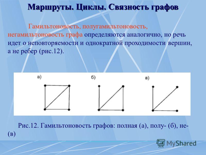 Маршруты. Циклы. Связность графов Гамильтоновость, полугамильтоновость, негамильтоновость графа определяются аналогично, но речь идет о неповторяемости и однократной проходимости вершин, а не ребер (рис.12). Рис.12. Гамильтоновость графов: полная (а)
