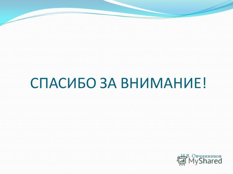 СПАСИБО ЗА ВНИМАНИЕ! И.В. Овчинников