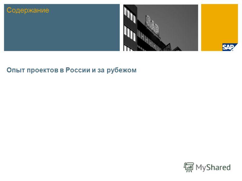 Опыт проектов в России и за рубежом Содержание