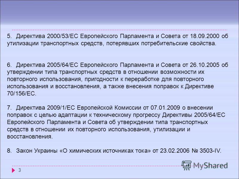3 5.Директива 2000/53/EC Европейского Парламента и Совета от 18.09.2000 об утилизации транспортных средств, потерявших потребительские свойства. 6.Директива 2005/64/EC Европейского Парламента и Совета от 26.10.2005 об утверждении типа транспортных ср