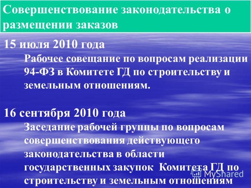 Совершенствование законодательства о размещении заказов 15 июля 2010 года Рабочее совещание по вопросам реализации 94-ФЗ в Комитете ГД по строительству и земельным отношениям. 16 сентября 2010 года Заседание рабочей группы по вопросам совершенствован