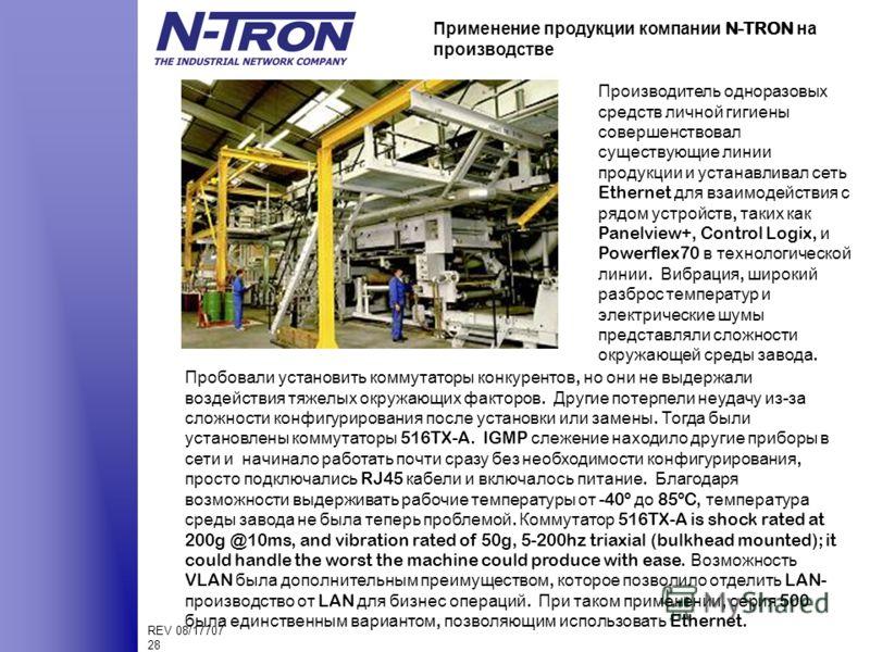 REV 08/17707 28 Применение продукции компании N-TRON на производстве Производитель одноразовых средств личной гигиены совершенствовал существующие линии продукции и устанавливал сеть Ethernet для взаимодействия с рядом устройств, таких как Panelview+