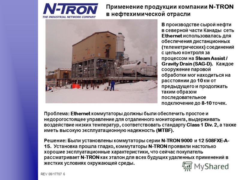 REV 08/17707 6 Применение продукции компании N-TRON в нефтехимической отрасли В производстве сырой нефти в северной части Канады сеть Ethernet использовалась для обеспечения дистанционных ( телеметрических ) соединений с целью контроля за процессом н