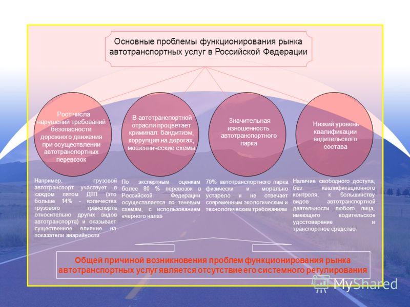 Основные проблемы функционирования рынка автотранспортных услуг в Российской Федерации В автотранспортной отрасли процветает криминал: бандитизм, коррупция на дорогах, мошеннические схемы Низкий уровень квалификации водительского состава Значительная