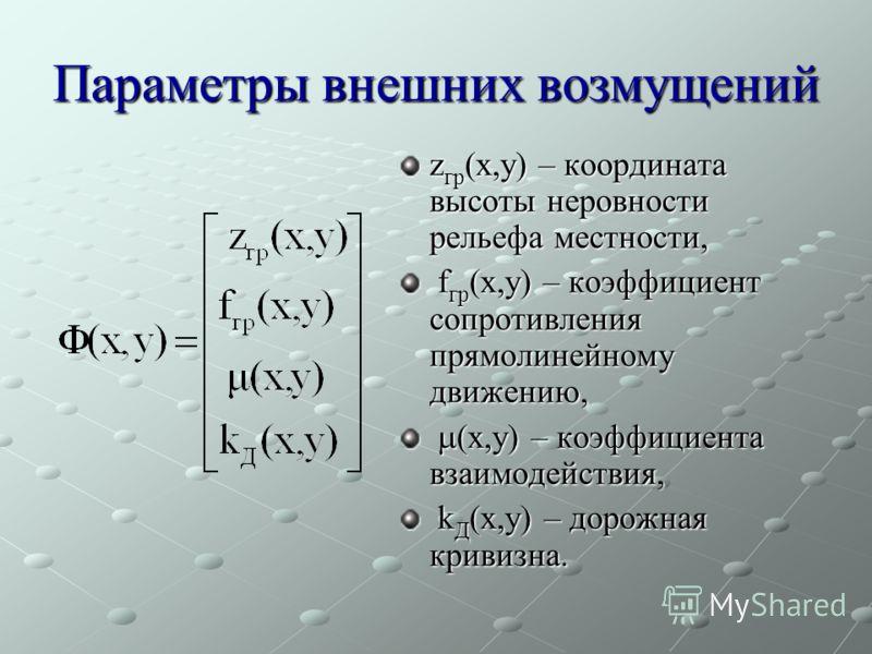 Параметры внешних возмущений z гр (x,y) – координата высоты неровности рельефа местности, f гр (x,y) – коэффициент сопротивления прямолинейному движению, f гр (x,y) – коэффициент сопротивления прямолинейному движению, (x,y) – коэффициента взаимодейст