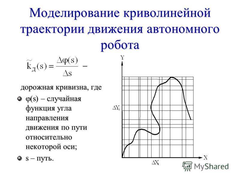 Моделирование криволинейной траектории движения автономного робота дорожная кривизна, где дорожная кривизна, где (s) – случайная функция угла направления движения по пути относительно некоторой оси; (s) – случайная функция угла направления движения п