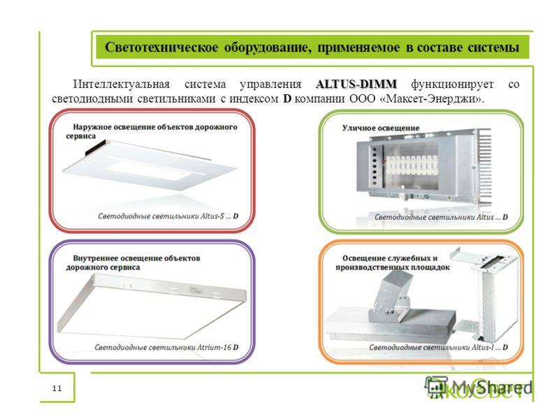 Светотехническое оборудование, применяемое в составе системы 11 ALTUS-DIMM Интеллектуальная система управления ALTUS-DIMM функционирует со светодиодными светильниками с индексом D компании ООО «Максет-Энерджи».