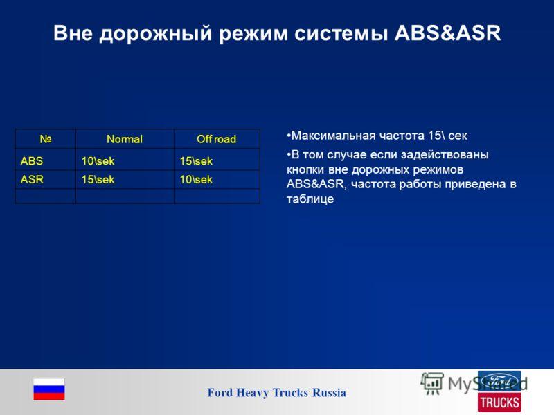 Ford Heavy Trucks Russia Вне дорожный режим системы ABS&ASR Максимальная частота 15\ сек В том случае если задействованы кнопки вне дорожных режимов ABS&ASR, частота работы приведена в таблице NormalOff road ABS10\sek15\sek ASR15\sek10\sek