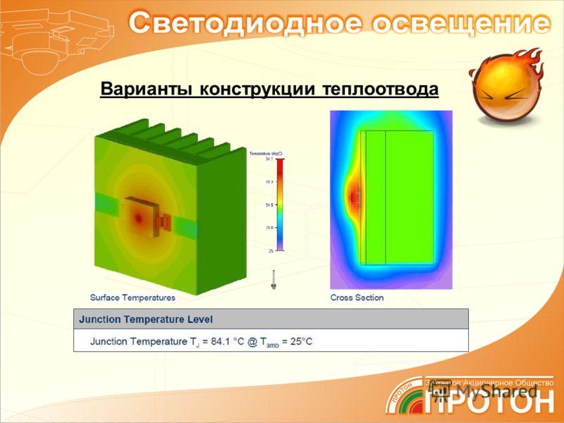 Варианты конструкции теплоотвода