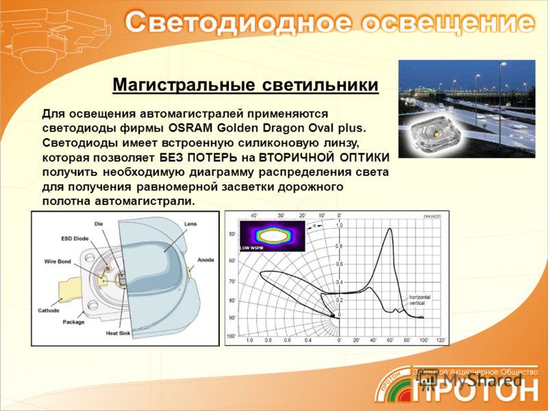 Для освещения автомагистралей применяются светодиоды фирмы OSRAM Golden Dragon Oval plus. Светодиоды имеет встроенную силиконовую линзу, которая позволяет БЕЗ ПОТЕРЬ на ВТОРИЧНОЙ ОПТИКИ получить необходимую диаграмму распределения света для получения