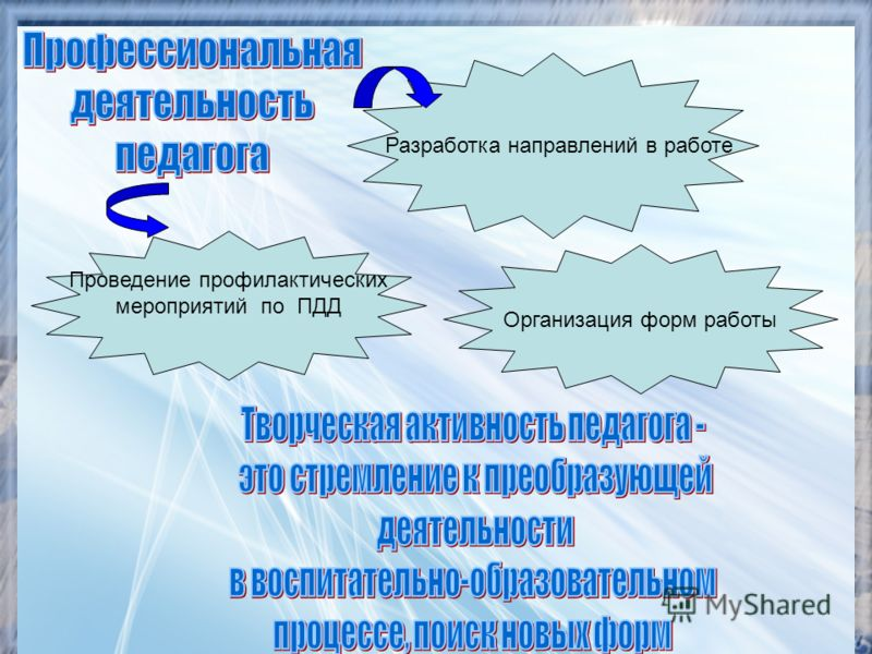 Проведение профилактических мероприятий по ПДД Разработка направлений в работе Организация форм работы