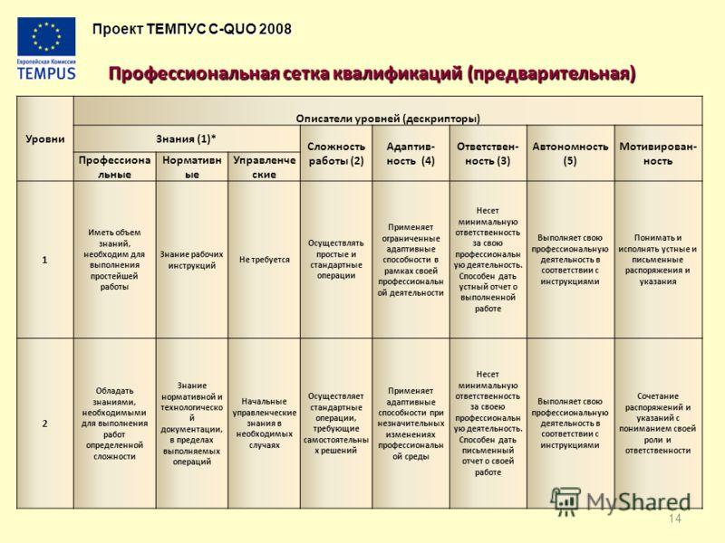 Проект ТЕМПУС C-QUO 2008 Профессиональная сетка квалификаций (предварительная) Профессиональная сетка квалификаций (предварительная) Уровни Описатели уровней (дескрипторы) Знания (1)* Сложность работы (2) Адаптив- ность (4) Ответствен- ность (3) Авто