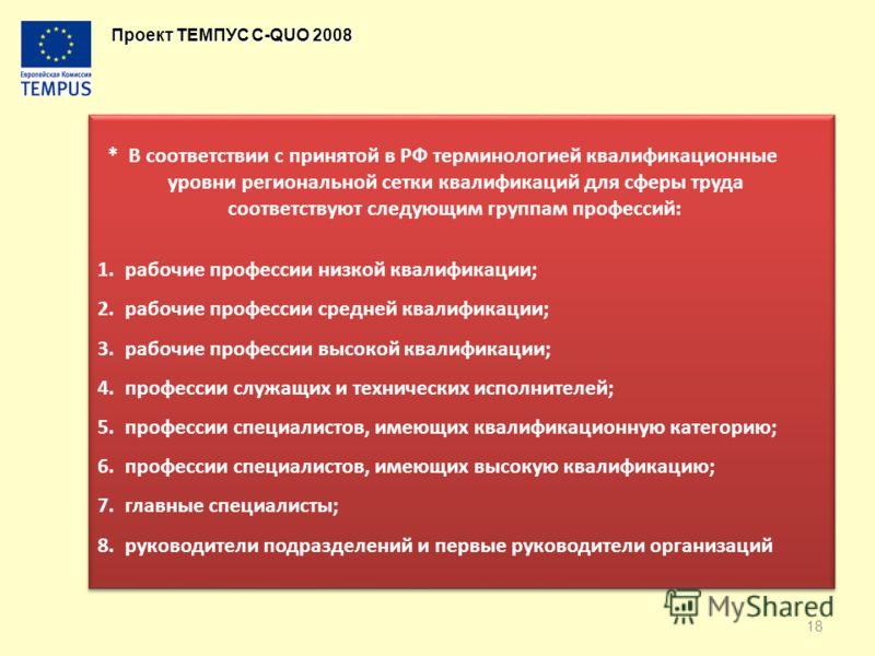 Проект ТЕМПУС C-QUO 2008 * В соответствии с принятой в РФ терминологией квалификационные уровни региональной сетки квалификаций для сферы труда соответствуют следующим группам профессий: 1. рабочие профессии низкой квалификации; 2. рабочие профессии