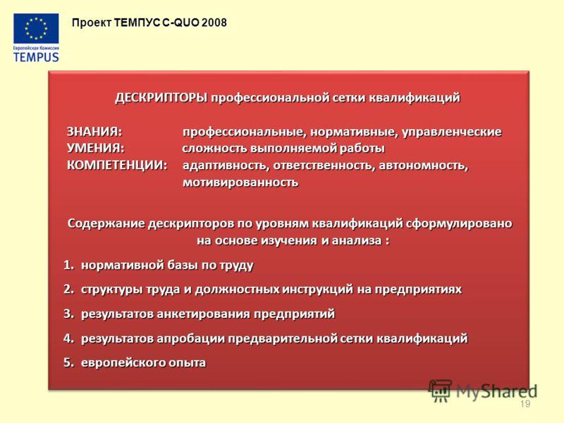 Проект ТЕМПУС C-QUO 2008 ДЕСКРИПТОРЫ профессиональной сетки квалификаций ЗНАНИЯ: профессиональные, нормативные, управленческие ЗНАНИЯ: профессиональные, нормативные, управленческие УМЕНИЯ: сложность выполняемой работы УМЕНИЯ: сложность выполняемой ра