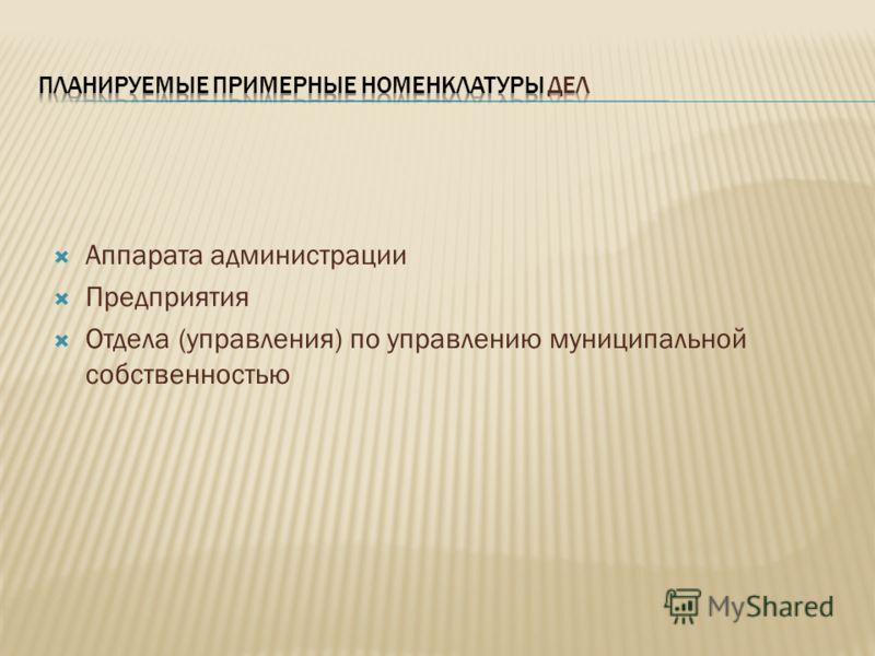 Аппарата администрации Предприятия Отдела (управления) по управлению муниципальной собственностью