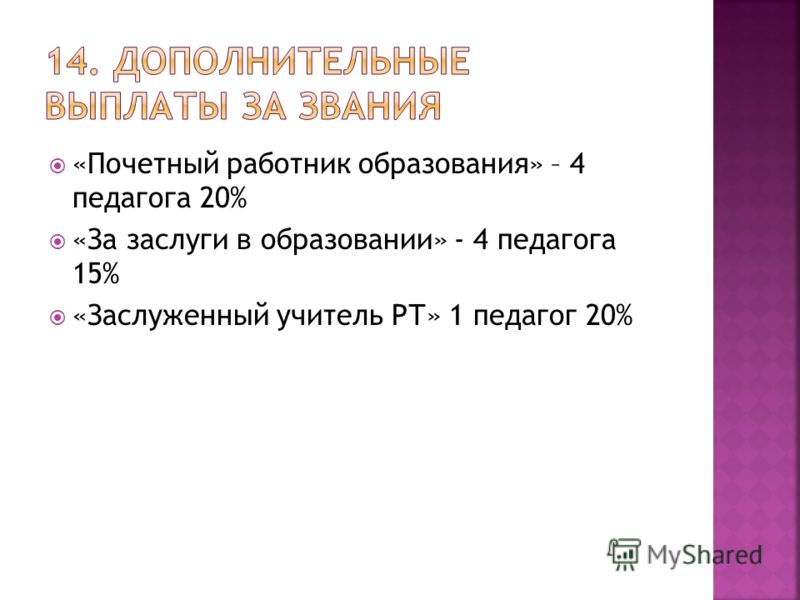 «Почетный работник образования» – 4 педагога 20% «За заслуги в образовании» - 4 педагога 15% «Заслуженный учитель РТ» 1 педагог 20%