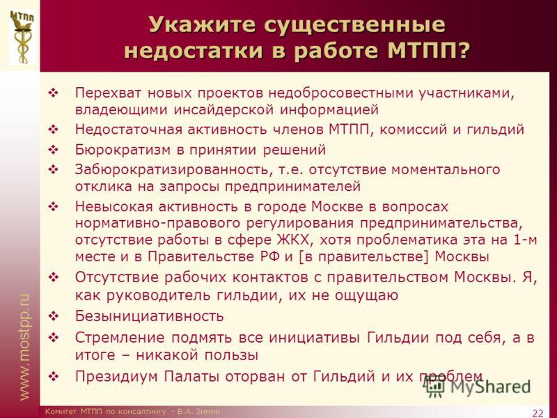 www.mostpp.ru 22 Комитет МТПП по консалтингу - В.А. Зимин Укажите существенные недостатки в работе МТПП? Перехват новых проектов недобросовестными участниками, владеющими инсайдерской информацией Недостаточная активность членов МТПП, комиссий и гильд