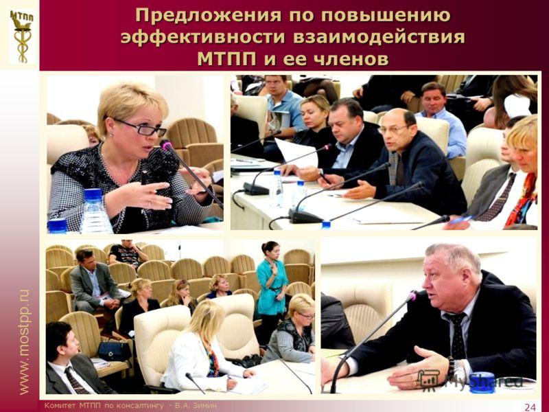 www.mostpp.ru 24 Комитет МТПП по консалтингу - В.А. Зимин Предложения по повышению эффективности взаимодействия МТПП и ее членов