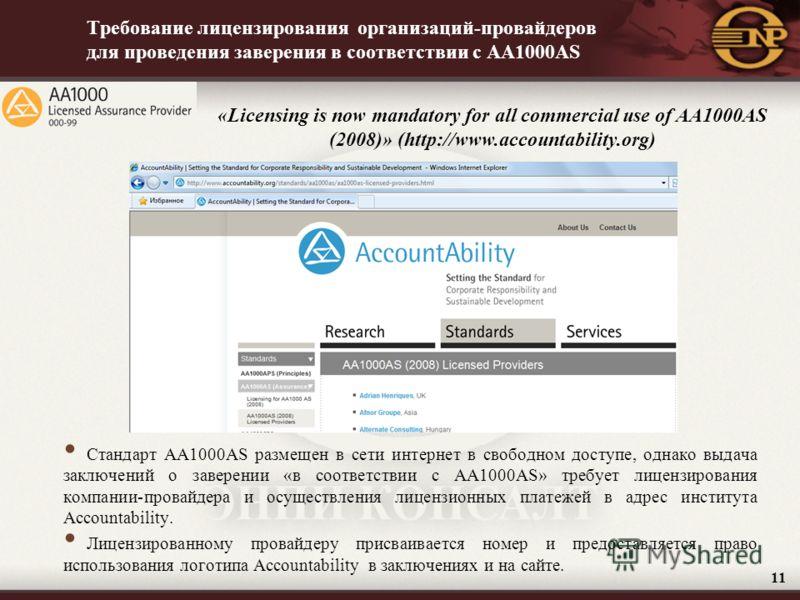Требование лицензирования организаций-провайдеров для проведения заверения в соответствии с AA1000AS Стандарт AA1000AS размещен в сети интернет в свободном доступе, однако выдача заключений о заверении «в соответствии с AA1000AS» требует лицензирован