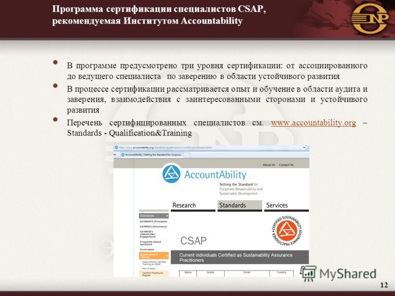 Программа сертификации специалистов CSAP, рекомендуемая Институтом Accountability В программе предусмотрено три уровня сертификации: от ассоциированного до ведущего специалиста по заверению в области устойчивого развития В процессе сертификации рассм