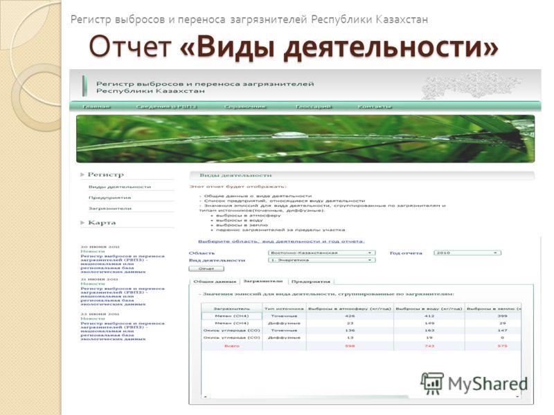 Отчет « Виды деятельности » Регистр выбросов и переноса загрязнителей Республики Казахстан