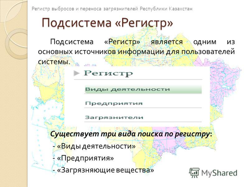 Подсистема « Регистр » Подсистема « Регистр » является одним из основных источников информации для пользователей системы. Существует три вида поиска по регистру : - « Виды деятельности » - « Предприятия » - « Загрязняющие вещества » Регистр выбросов