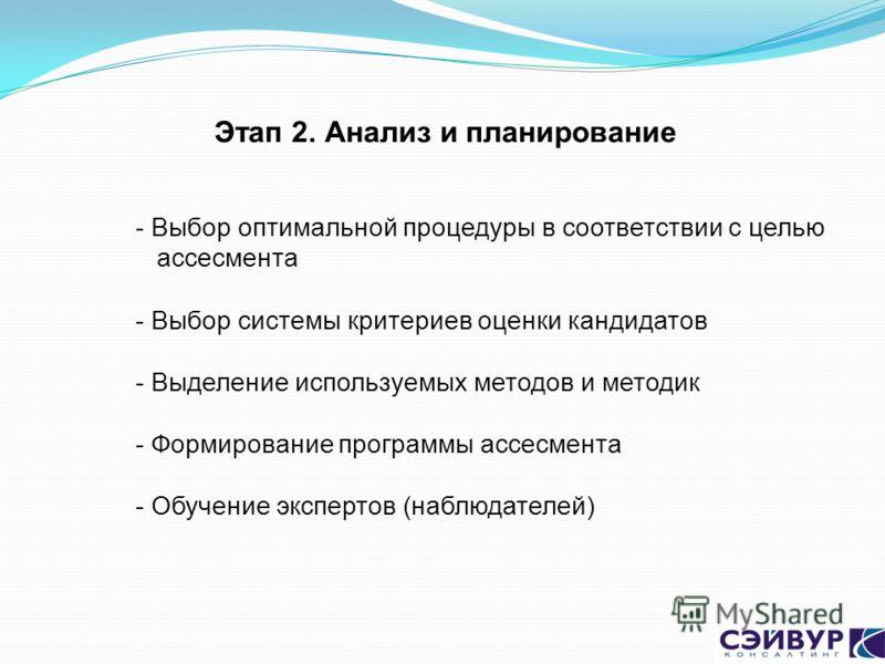 Этап 2. Анализ и планирование - Выбор оптимальной процедуры в соответствии с целью ассесмента - Выбор системы критериев оценки кандидатов - Выделение используемых методов и методик - Формирование программы ассесмента - Обучение экспертов (наблюдателе