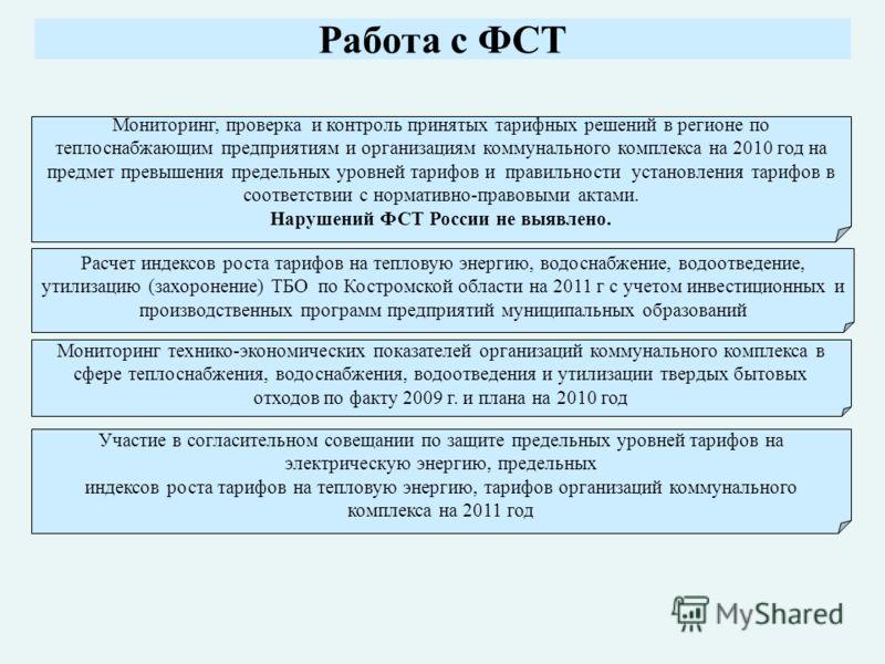 Работа с ФСТ Мониторинг, проверка и контроль принятых тарифных решений в регионе по теплоснабжающим предприятиям и организациям коммунального комплекса на 2010 год на предмет превышения предельных уровней тарифов и правильности установления тарифов в