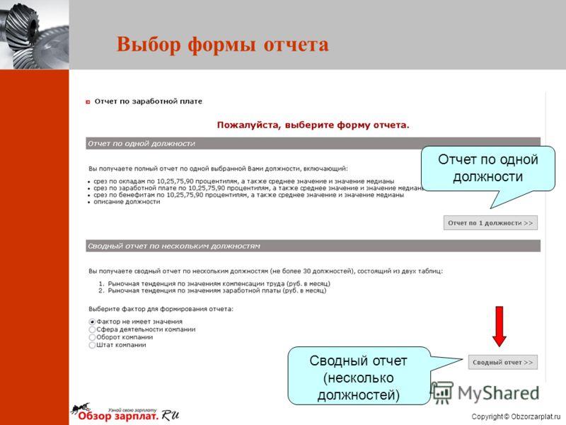 Copyright © Obzorzarplat.ru Отчет по одной должности Сводный отчет (несколько должностей) Выбор формы отчета