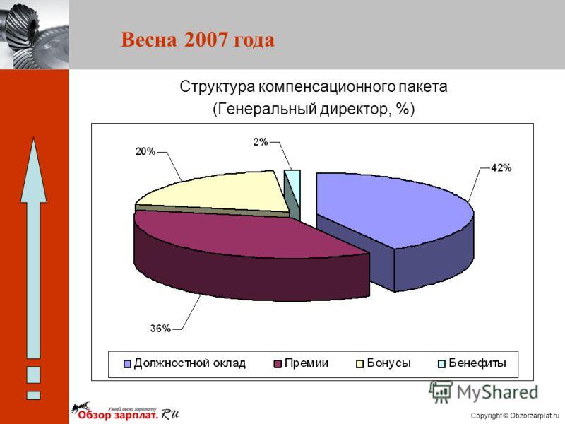 Copyright © Obzorzarplat.ru Весна 2007 года Структура компенсационного пакета (Генеральный директор, %)