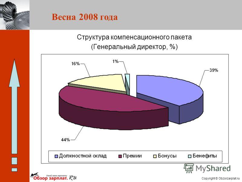 Copyright © Obzorzarplat.ru Весна 2008 года Структура компенсационного пакета (Генеральный директор, %)