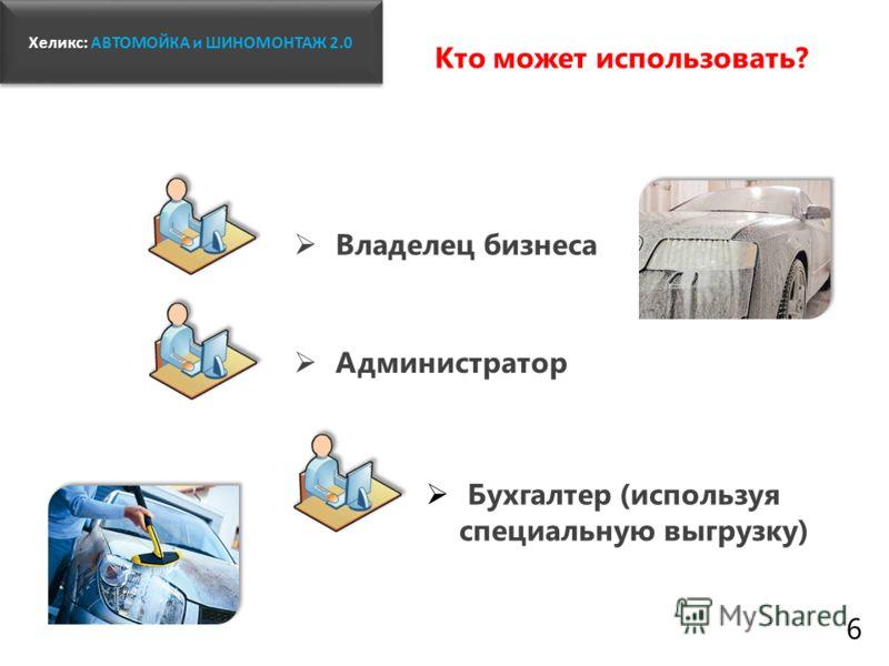 Владелец бизнеса www.fitness1c.ru Бухгалтер (используя специальную выгрузку) Администратор Хеликс: Хеликс: АВТОМОЙКА и ШИНОМОНТАЖ 2.0 Кто может использовать? 6