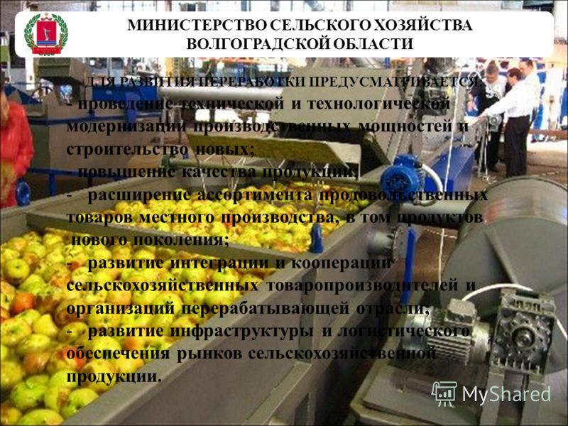 МИНИСТЕРСТВО СЕЛЬСКОГО ХОЗЯЙСТВА ВОЛГОГРАДСКОЙ ОБЛАСТИ ДЛЯ РАЗВИТИЯ ПЕРЕРАБОТКИ ПРЕДУСМАТРИВАЕТСЯ: - проведение технической и технологической модернизации производственных мощностей и строительство новых; - повышение качества продукции; -расширение а