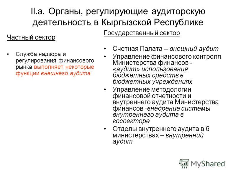 II.a. Органы, регулирующие аудиторскую деятельность в Кыргызской Республике Частный сектор Служба надзора и регулирования финансового рынка выполняет некоторые функции внешнего аудита Государственный сектор Счетная Палата – внешний аудит Управление ф