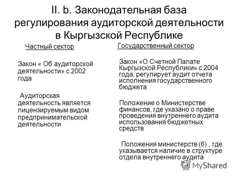 II. b. Законодательная база регулирования аудиторской деятельности в Кыргызской Республике Частный сектор Закон « Об аудиторской деятельности» с 2002 года Аудиторская деятельность является лицензируемым видом предпринимательской деятельности Государс