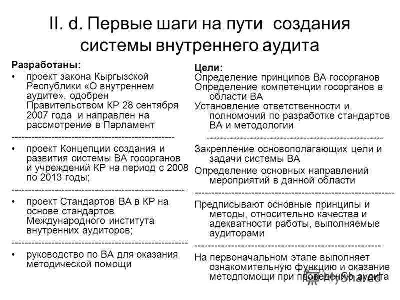 II. d. Первые шаги на пути создания системы внутреннего аудита Разработаны: проект закона Кыргызской Республики «О внутреннем аудите», одобрен Правительством КР 28 сентября 2007 года и направлен на рассмотрение в Парламент ---------------------------