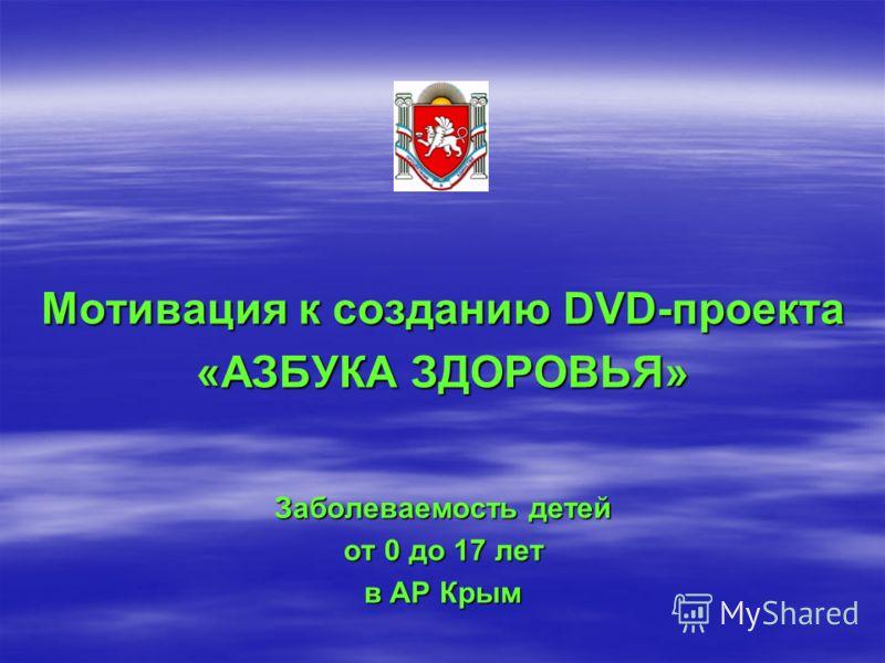 Мотивация к созданию DVD-проекта «АЗБУКА ЗДОРОВЬЯ» Заболеваемость детей от 0 до 17 лет в АР Крым