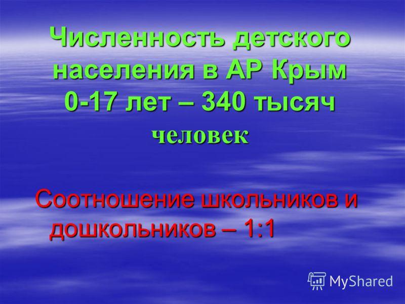 Численность детского населения в АР Крым 0-17 лет – 340 тысяч человек Соотношение школьников и дошкольников – 1:1